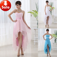 Wholesale Cheap Sexy Blue Pink White Beading Chiffon Short front long back Homecoming Party Prom dresses
