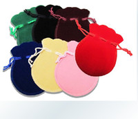 jewelry pouch velvet - 100pcs Velvet Jewelry pouches ring earrings pendant charm packing Bag Bundle gift Bags Size cm color