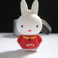 Wholesale 100 Real GB Miffy Rabbit USB Flash Memory Pen Drive Disk Stick Drives Stick Thumbdrive