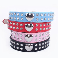 Wholesale Pet Dog Collars PU Leather Collars Rhinestone Heart shaped charms Collars
