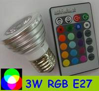 Wholesale 3W RGB Bulb Light Color Change lamp Remote Control LED spotlight RGB global E27 base