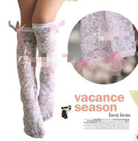 Wholesale pairs baby girls summer lace long socks lace bowknot stockings girls socks