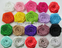 Wholesale 180pcs Rolled Rosettes Satin Silk Flower satin Rosette for DIY Hair Accessories MG009