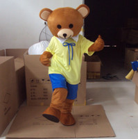 Wholesale Yellow Teddy Bear Mascot Animal Costumes Cartoon Mascot Halloween Customized Mascot Outfit Adult Fancy Dress