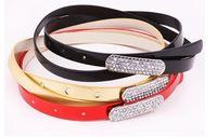 Wholesale Hot Sell Good Nice Girl Women Fashion Diamond Head Thin Skinny Candy Color Waistband Belt Leather Girdle Strap