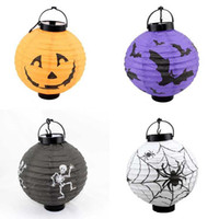 Wholesale 4 Designs Glow Stick Halloween Pumpkin Skull lantern led light toys pumpkin lamp
