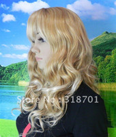 straight African-American Wigs Christmas Pretty Long Curly Capless blonde Synthetic Hair Wig(Free Shipping)