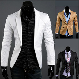 Wholesale HOT Men Casual Suit Blazer fashion Black White Khaki Szie M L XL Coat W11 Free Ship
