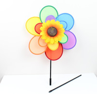 Wholesale Windmill Double layer six color sunflowers large windmills children show props decoration