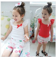Wholesale 2013 new summer Girl s Lace sleeves vest top babys cute bowknot T shirts