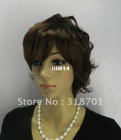 "straight African-American Wigs Christmas 2012 Good quality Capless Medium Curly 12"" Synthetic Hair Wigs(Free Shipping)"