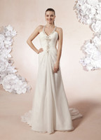 Wholesale Wedding Dresses V neck Beaded Halter Ruched Chiffon A line Gown Beaded Racer back Chapel Train BG931