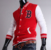 Wholesale Mens Baseball Letterman Varsity sportswear Basketball Uniform Black Red Navy JK58 B