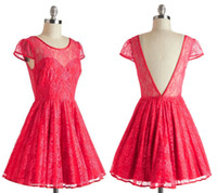Wholesale Raspberry Cocktails Dress Lace Party Cap Sleeves Sheer Short Solid Backless Fit Flare Holiday Party