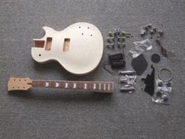 Wholesale Mahogany Body For Gibson Unfinished Electric Guitar Kit With Flamed Maple Top with Dual Humbuckers