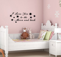 Wholesale funlife I love you to the moon Nursery Kids room Art Quote wall decal saying stickers x22cm L2012215