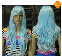 Wholesale New Light Blue white Mix Long Wavy Cosplay women Wig Free Hairnet HN166