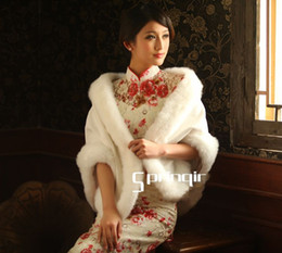 Wholesale 2013elegant fox wool Beautiful In White wedding gown cheongsam wool shawls wraps cap