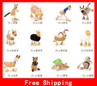 Wholesale Pop ANAMALZ Moveable Wooden Toys Zoo Animals Dolls Maple Wood Textiles Toy For Kids