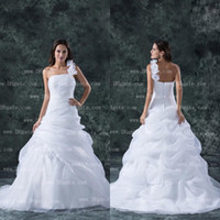 Wholesale 2015 New Arrival One Shoulder Flower Ball Gown White Organza Wedding Dress Bridal Gown WD136