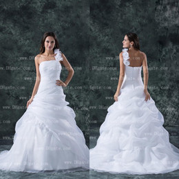2015 New Arrival One Shoulder Flower Ball Gown White Organza Wedding Dress Bridal Gown WD136