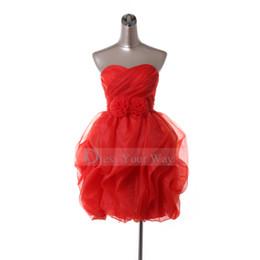 Wholesale Festival Red Mini Sweetheart Sexy Homecoming Dress Short Ruffles Handmade Flowers Trimmed Organza DZ099