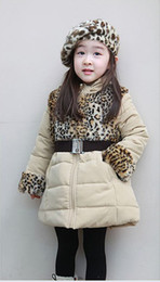 Wholesale Winter children clothing Kids clothes Leopard grain zebras belt girls coat Quilted jacket kids coats