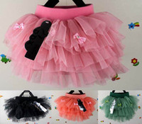 Wholesale Kids girls summer skirts tutu bow lace VOILE T girls veil skirts