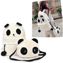 Frete grátis lona panda adorável mochila bolsa de ombro + messenger 2pcs/conjunto de bolsas atacado e varejo