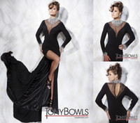 Wholesale Designer Sexy Black High V Neck Front Split Crystal Evening Dresses Prom Party Gowns Tony Bowls New