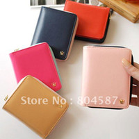 Wholesale 5 Colors Fashion PU Leather Button Purse Card Holder Cute Sweet Women Wallet BG207