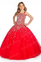 Wholesale Little Girl s Pageant Dresses Sexy Spaghetti Beaded Organza Red Ball Gown Flower Girl Dress1413