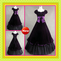 Wholesale 2013 Cheap Vintage Sweetheart Cap Sleeves Bow Purple Gothic Victorian Fall Ball Gown Wedding Dresses