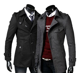 Wholesale New HOT Men s Slim single breasted turndown collar Belt design Coat OverCoat Trench Coat