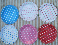 Wholesale 9 Inch Polka Dot Paper Plate Paper Dish via FEDEX DHL EMS