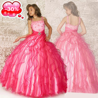 Wholesale 70 Off Cheap in Stock Hot Pink Fuchsia Tulle Beads Girls Pageant Dresses Special Occasion Dresses