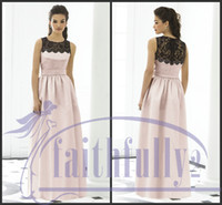 Reference Images bridesmaid dress black and pink - Sizes Available Bridesmaids Dress Black and Pink Jewel Lace Applique Band Pleats Floor Length