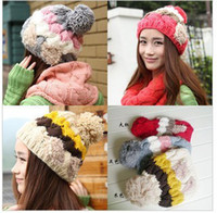 Wholesale The new winter warm hat child Korean bow pearl cap wool knit cap Color mixing