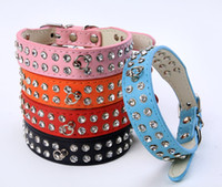(5 colors) Mixed Puppy Leather Diamond Dog Collars Rhineston...