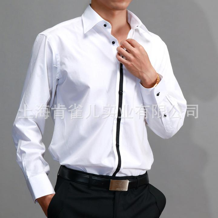 White men 39 s shirts business wedding prom groom groomsman for Men s wedding dress shirts