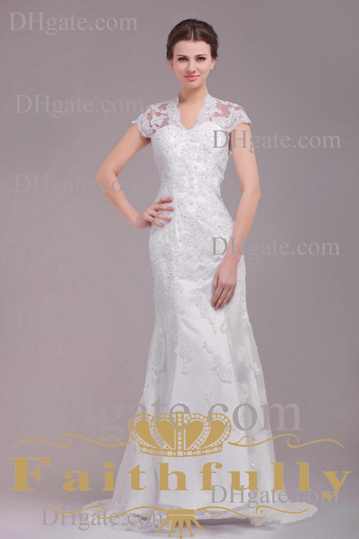 Ivory Lace Wedding Dress With Sleeves Ivory sheath lace bridal dress