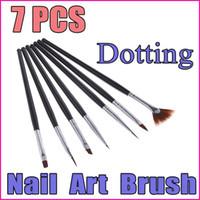 Wholesale AE626 sets Black Handle Nail Art Design Pen Painting Dotting Pen Nail Art Brush Nail Tools Set