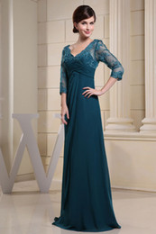 Wholesale 2013 Half Sleeves V Neck Chiffon Appliques A Line Floor Length Mother of the Bride Dresses WD3