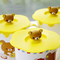 Wholesale Free Shiiping Hot Selling Pieces Lovely Small Bear Cartoon Silicone Cup Lid Cup Cover