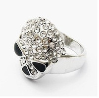 Wholesale New Arrival Mens Diamond Skull Rings Punk Womens Silver Ring