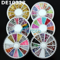 Wholesale 6 wheels Assorted colorful rhinestone beads nail acrylicstone D Nail Art Decoration Clay and Pearl
