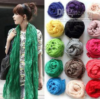 Wholesale Fashion Silk scarves woman pure color fold cotton silk scarf fashion long style scarf