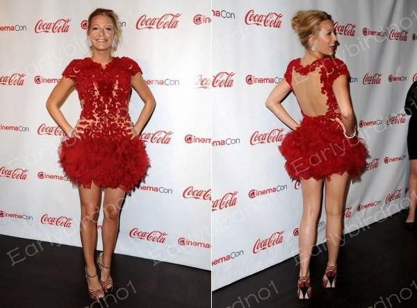 Custom Made 2013 Sexy Cap Sleeve Blake Lively Lace Mini Short Red ...