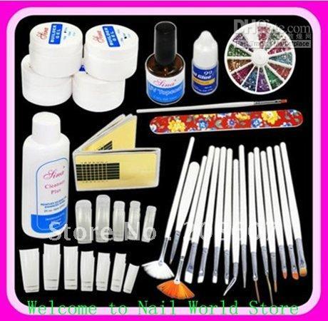 DIY Supplies Nail Art Professional UV GEL French NAIL KIT Acrylic ...