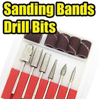 Wholesale 6PCS set Drill Bits and Sanding band for Nail Hand Drill Replacement set Nail Electric File